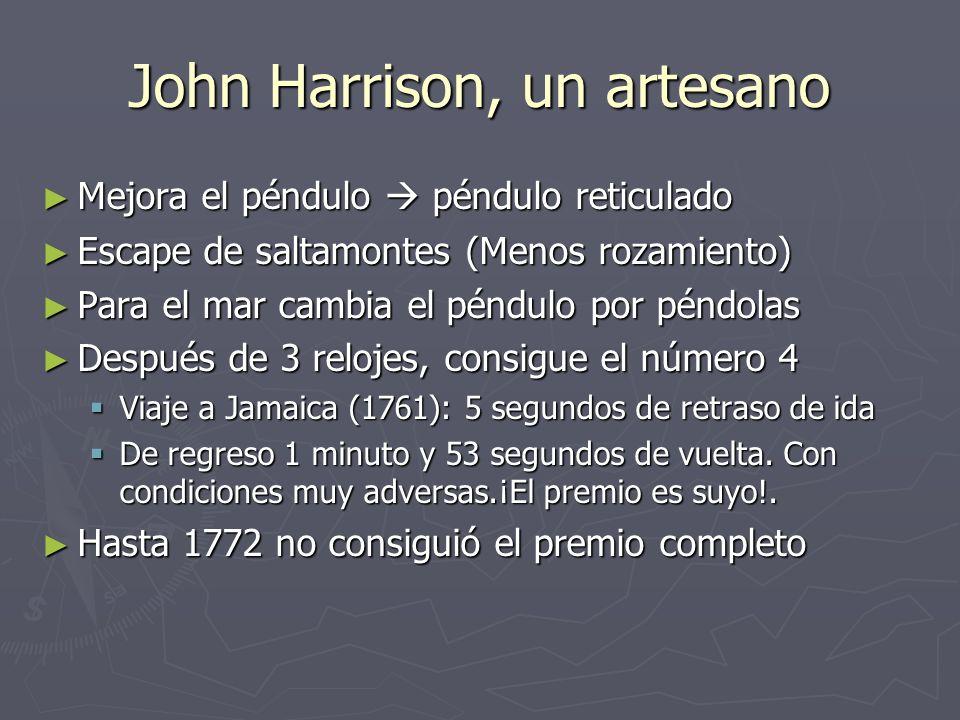 John Harrison, un artesano Mejora el péndulo péndulo reticulado Mejora el péndulo péndulo reticulado Escape de saltamontes (Menos rozamiento) Escape d