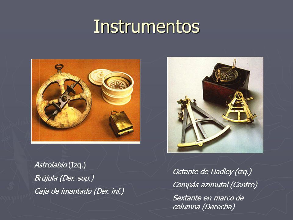 Instrumentos Astrolabio (Izq.) Brújula (Der. sup.) Caja de imantado (Der. inf.) Octante de Hadley (izq.) Compás azimutal (Centro) Sextante en marco de