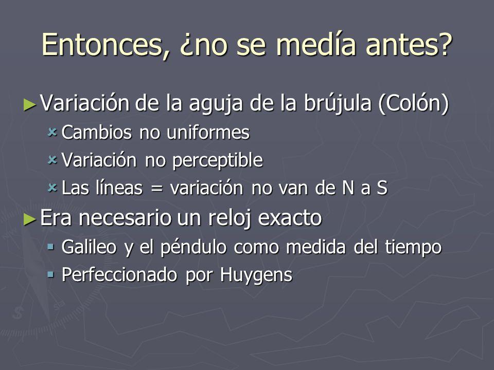 Entonces, ¿no se medía antes? Variación de la aguja de la brújula (Colón) Variación de la aguja de la brújula (Colón) Cambios no uniformes Cambios no