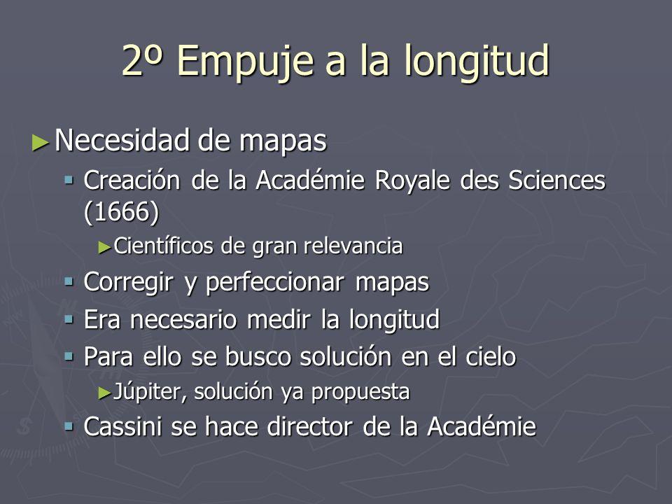 2º Empuje a la longitud Necesidad de mapas Necesidad de mapas Creación de la Académie Royale des Sciences (1666) Creación de la Académie Royale des Sc