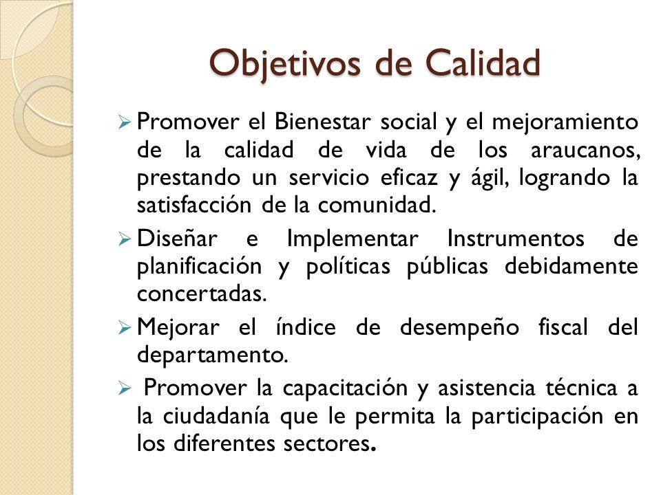 Objetivos de Calidad Promover el Bienestar social y el mejoramiento de la calidad de vida de los araucanos, prestando un servicio eficaz y ágil, logra