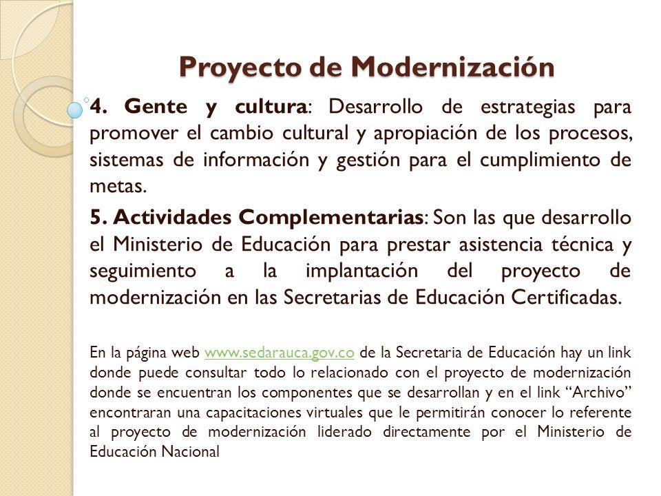 Proyecto de Modernización 4. Gente y cultura: Desarrollo de estrategias para promover el cambio cultural y apropiación de los procesos, sistemas de in