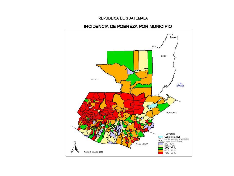 6 Resultados del mapa de pobreza en Guatemala