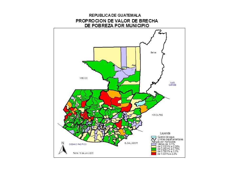 echa: 10 de Julio, 2001 MEXICO PROPROCION DE VALOR DE BRECHA DE POBREZA POR MUNICIPIO REPUBLICA DE GUATEMALA Belice