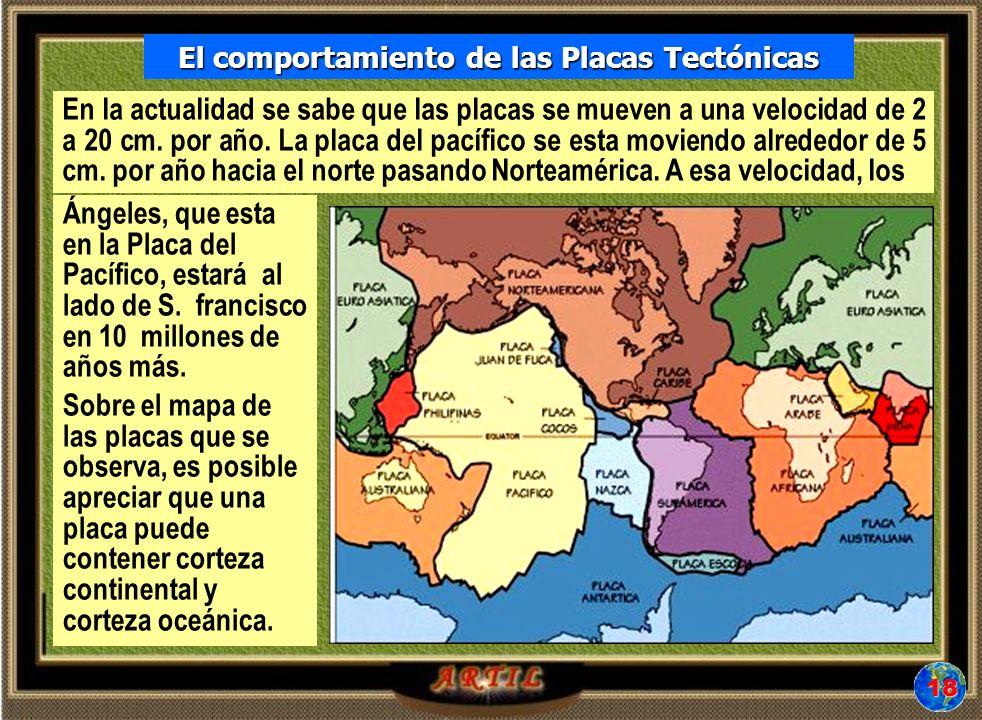 El comportamiento de las Placas Tectónicas En la actualidad se sabe que las placas se mueven a una velocidad de 2 a 20 cm.