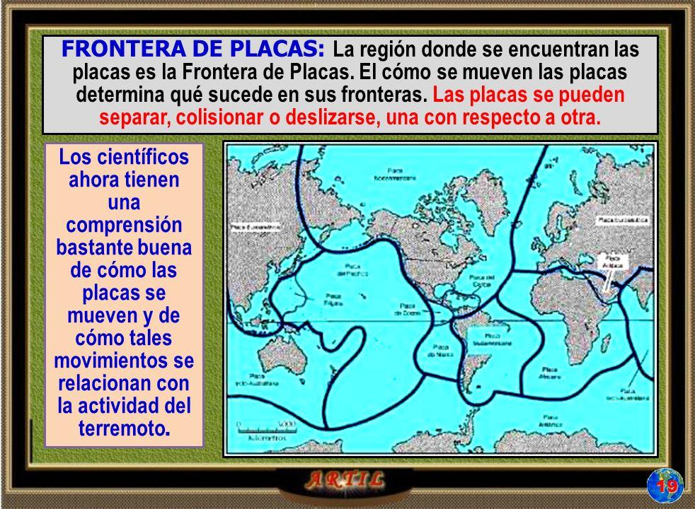 FRONTERA DE PLACAS: La región donde se encuentran las placas es la Frontera de Placas.