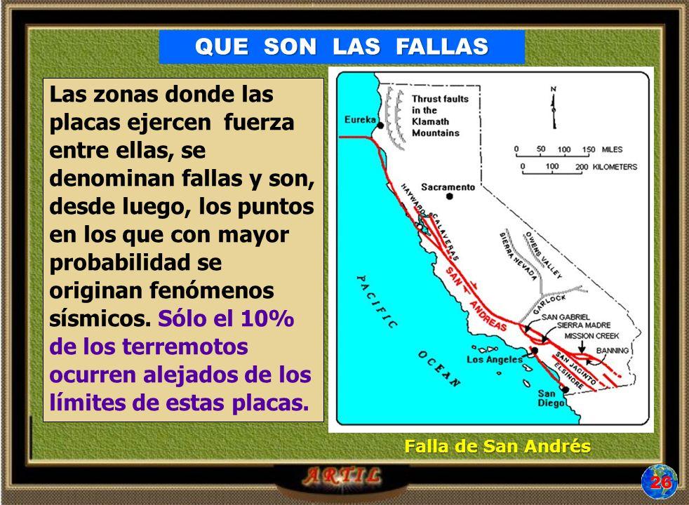Las zonas donde las placas ejercen fuerza entre ellas, se denominan fallas y son, desde luego, los puntos en los que con mayor probabilidad se originan fenómenos sísmicos.