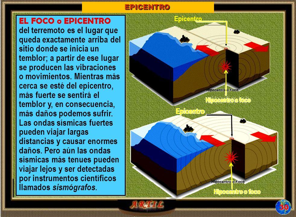 EL FOCO o EPICENTRO del terremoto es el lugar que queda exactamente arriba del sitio donde se inicia un temblor; a partir de ese lugar se producen las vibraciones o movimientos.