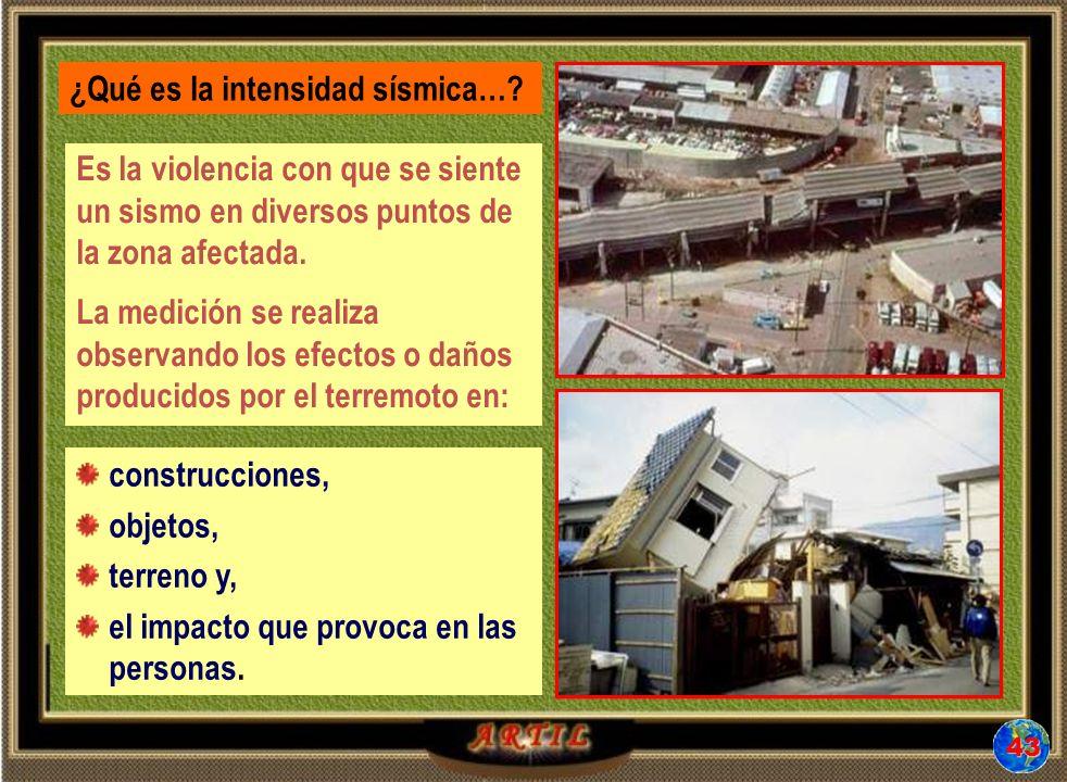 Es la violencia con que se siente un sismo en diversos puntos de la zona afectada.