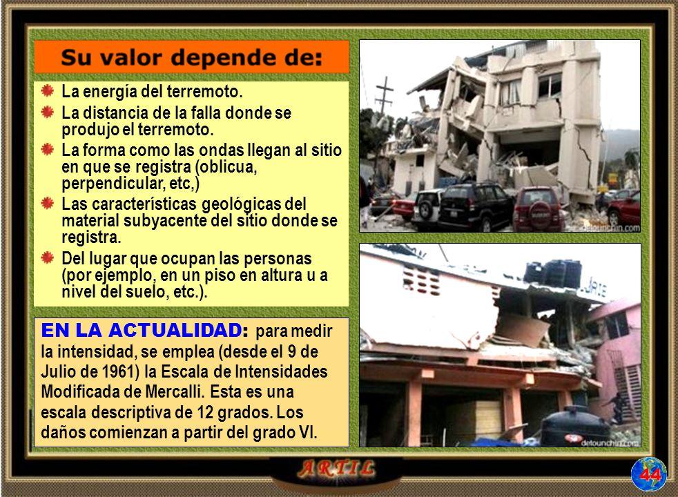 La energía del terremoto.La distancia de la falla donde se produjo el terremoto.