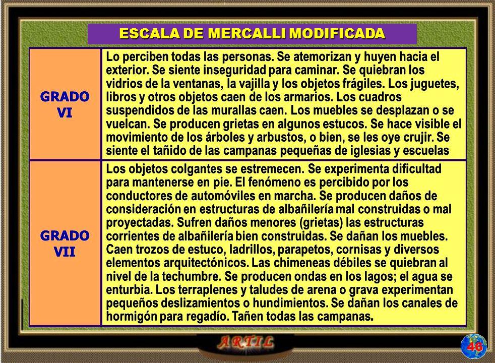 ESCALA DE MERCALLI MODIFICADA 45