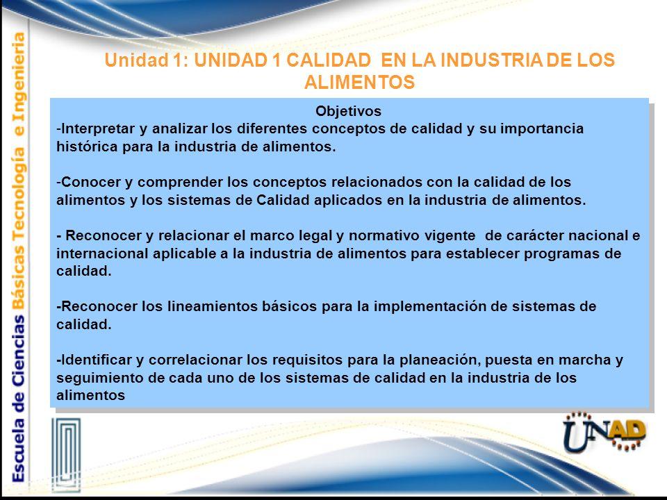Unidad 1: UNIDAD 1 CALIDAD EN LA INDUSTRIA DE LOS ALIMENTOS Objetivos -Interpretar y analizar los diferentes conceptos de calidad y su importancia histórica para la industria de alimentos.