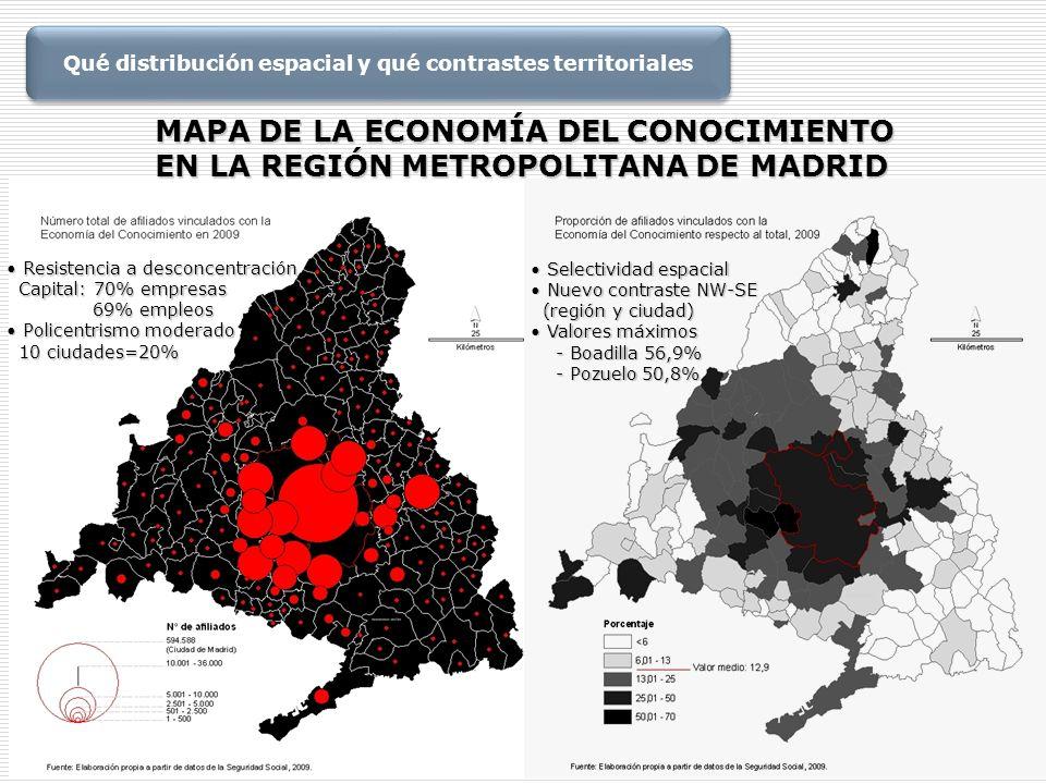 MAPA DE LA ECONOMÍA DEL CONOCIMIENTO EN LA REGIÓN METROPOLITANA DE MADRID Resistencia a desconcentración Resistencia a desconcentración Capital: 70% e