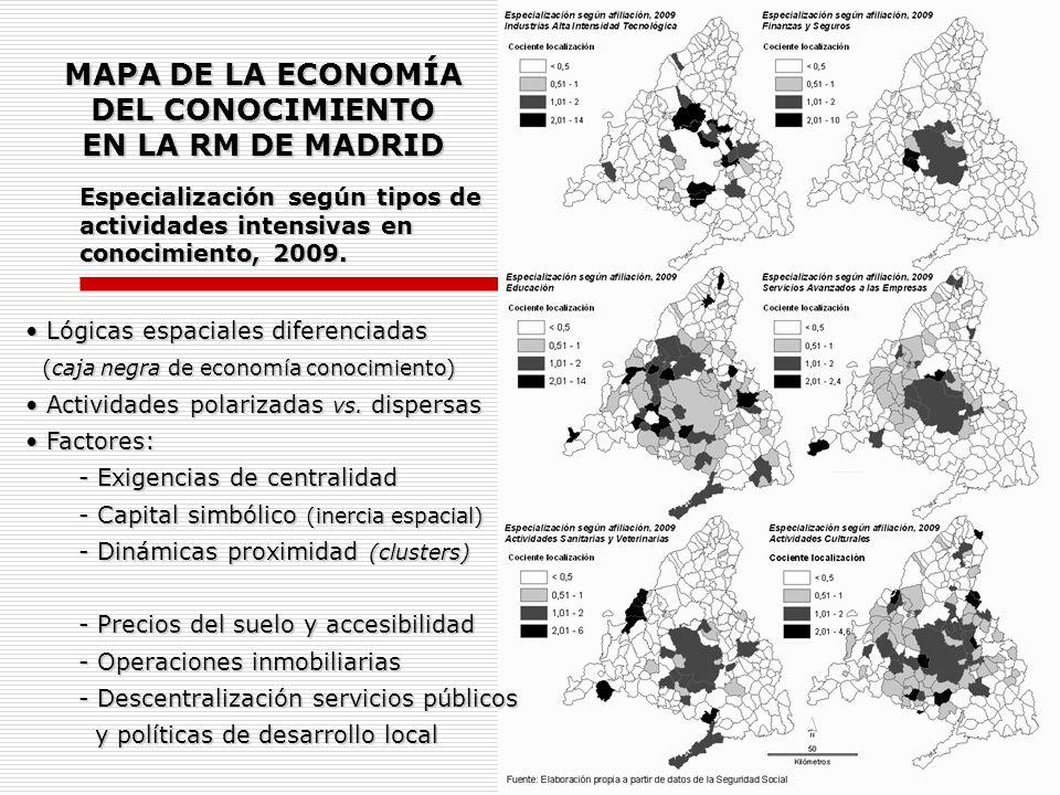 Especialización según tipos de actividades intensivas en conocimiento, 2009. MAPA DE LA ECONOMÍA DEL CONOCIMIENTO EN LA RM DE MADRID Lógicas espaciale