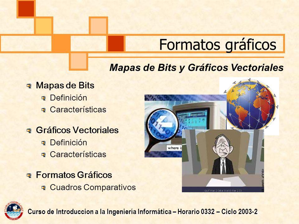Formatos gráficos Mapas de Bits Definición Características Gráficos Vectoriales Definición Características Formatos Gráficos Cuadros Comparativos Mapas de Bits y Gráficos Vectoriales Curso de Introduccion a la Ingeniería Informática – Horario 0332 – Ciclo 2003-2