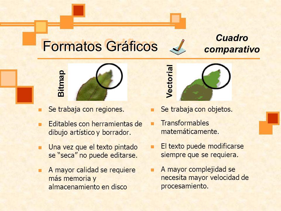 Formatos Gráficos La calidad de impresión o visualización depende de la resolución de la imagen.