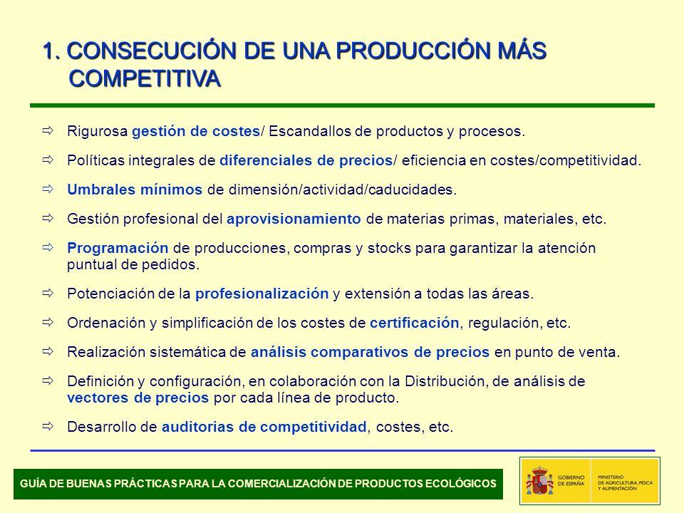 Rigurosa gestión de costes/ Escandallos de productos y procesos. Políticas integrales de diferenciales de precios/ eficiencia en costes/competitividad