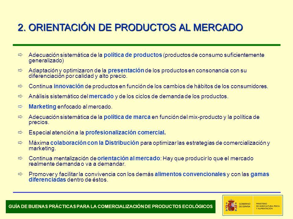Adecuación sistemática de la política de productos (productos de consumo suficientemente generalizado) Adaptación y optimizaron de la presentación de los productos en consonancia con su diferenciación por calidad y alto precio.