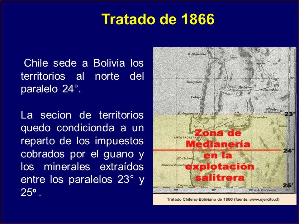 Chile sede a Bolivia los territorios al norte del paralelo 24°. La secion de territorios quedo condicionda a un reparto de los impuestos cobrados por