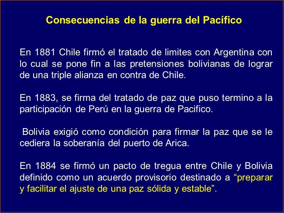 Consecuencias de la guerra del Pacífico En 1881 Chile firmó el tratado de limites con Argentina con lo cual se pone fin a las pretensiones bolivianas