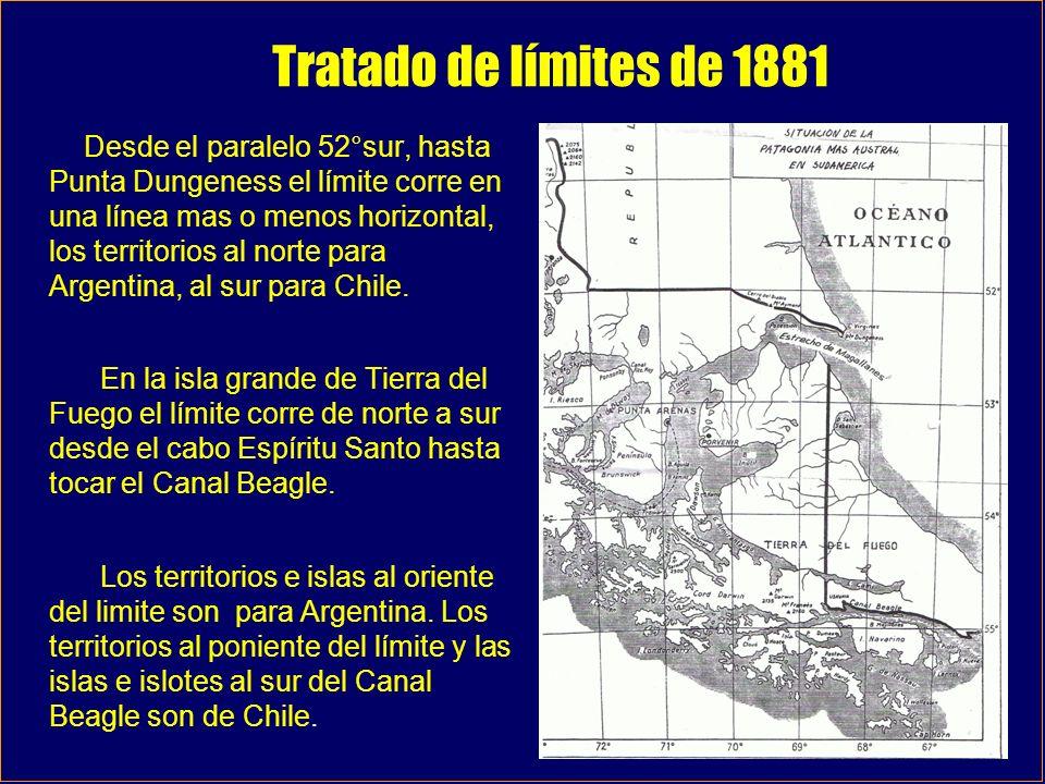 Tratado de límites de 1881 Desde el paralelo 52°sur, hasta Punta Dungeness el límite corre en una línea mas o menos horizontal, los territorios al nor