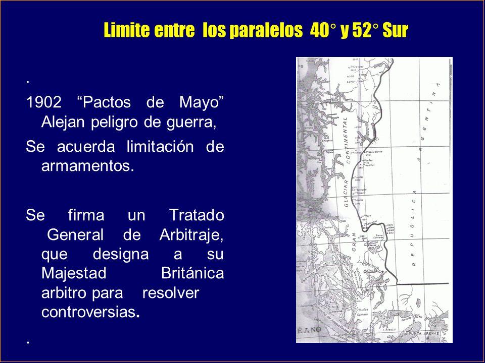 Limite entre los paralelos 40° y 52° Sur. 1902 Pactos de Mayo Alejan peligro de guerra, Se acuerda limitación de armamentos. Se firma un Tratado Gener