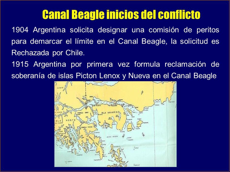 Canal Beagle inicios del conflicto 1904 Argentina solicita designar una comisión de peritos para demarcar el límite en el Canal Beagle, la solicitud e