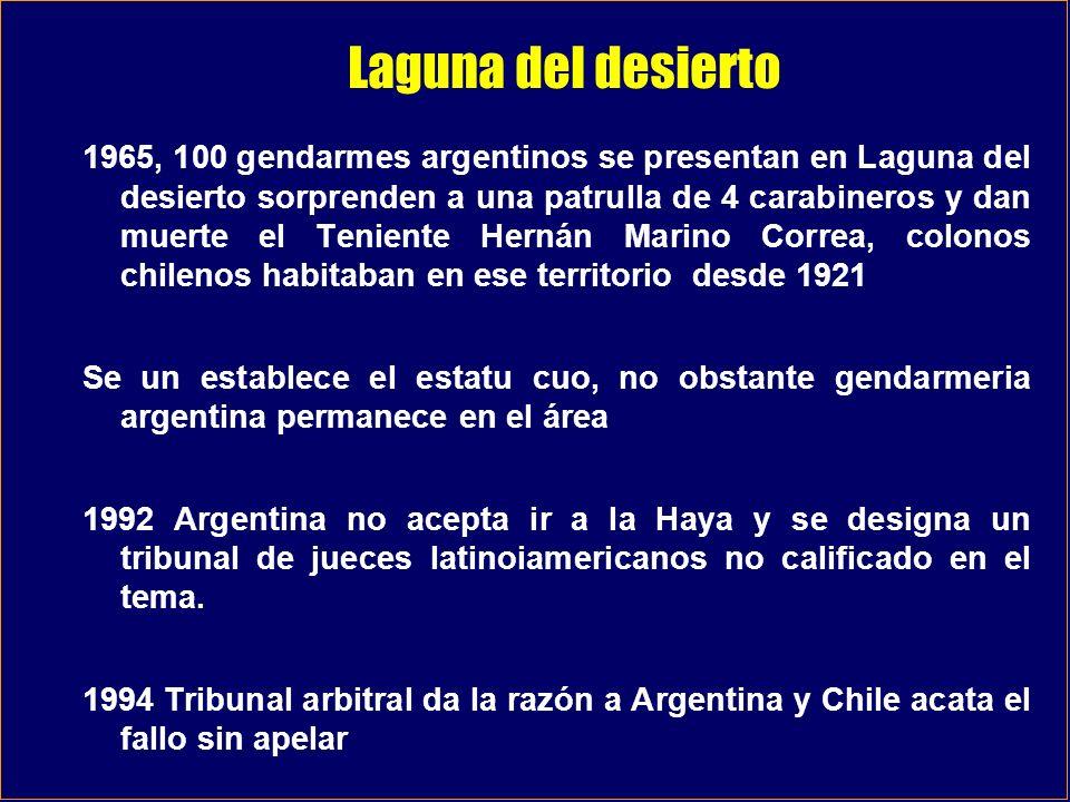 Laguna del desierto 1965, 100 gendarmes argentinos se presentan en Laguna del desierto sorprenden a una patrulla de 4 carabineros y dan muerte el Teni