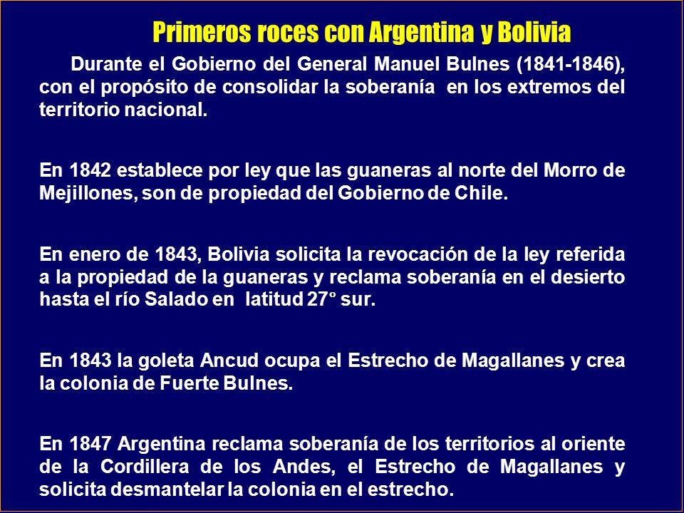 Negociaciones Chile Argentina 1856 1881 La delimitación de la frontera con Argentina ha dado origen a permanentes dificultades que se inician en 1847 cuando Argentina protesta por la instalación de la colonia en Fuerte Bulnes.