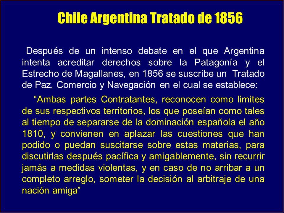 Tratado de límites de 1881 De norte a sur, hasta el paralelo 52° sur, el limite corre por las más altas cumbres de la cordillera de los Andes.