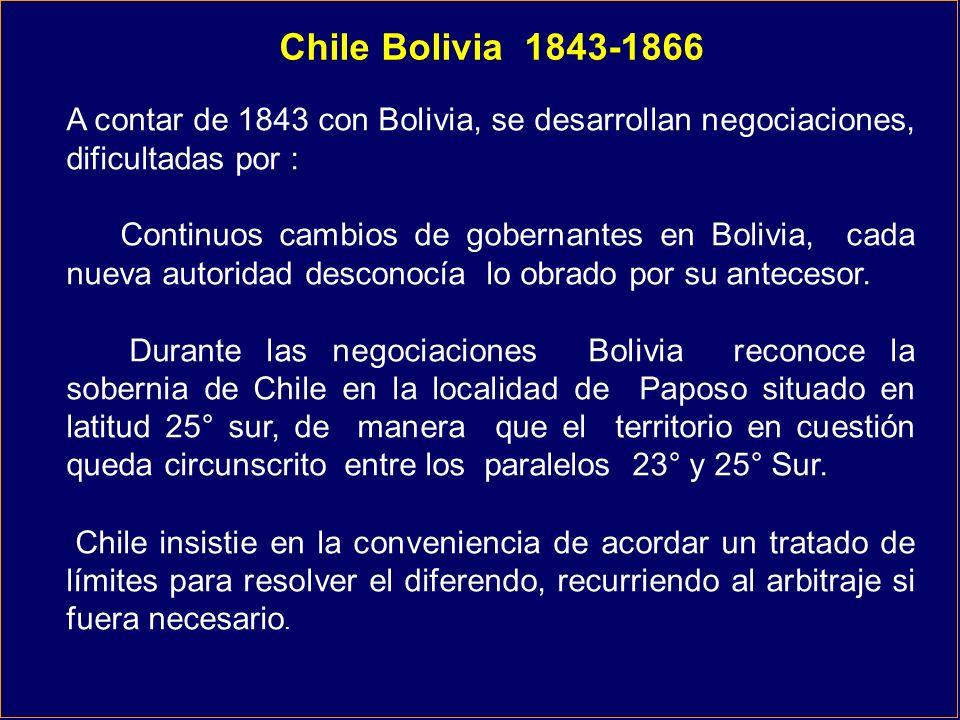 Chile Bolivia 1843-1866 A contar de 1843 con Bolivia, se desarrollan negociaciones, dificultadas por : Continuos cambios de gobernantes en Bolivia, ca