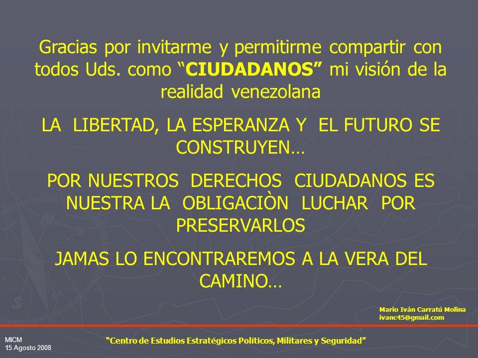 MICM 15 Agosto 2008 PODERES PSUV FAN RESERVA GUARDIA TERRITORIAL EMPRESARIOS MEDIOS GOBIERNO DEL CHAVISMO NIVEL POLÍTICO NIVEL OPERATIVO GOBIERNO DIM PTJ MILICIAS EXTRANJERAS PM / DISP SENIAT Camaleones BRIGADAS DE RESPUESTA RÁPIDA CIUDADANOS MILICIA NACIONAL BOLIVARIANA= RESERVA MILITAR+ MILICIA TERRITORIAL+ CONSEJOS COMUNALES = CUERPOS COMBATIENTES DE RESERVA.