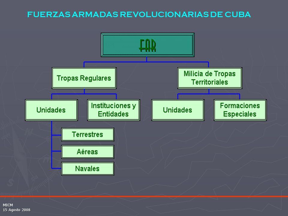 MICM 15 Agosto 2008 FUERZAS ARMADAS REVOLUCIONARIAS DE CUBA