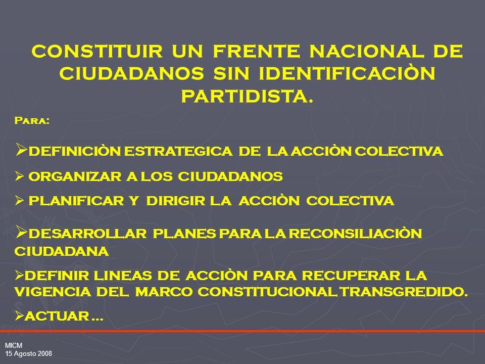 MICM 15 Agosto 2008 CONSTITUIR UN FRENTE NACIONAL DE CIUDADANOS SIN IDENTIFICACIÒN PARTIDISTA.