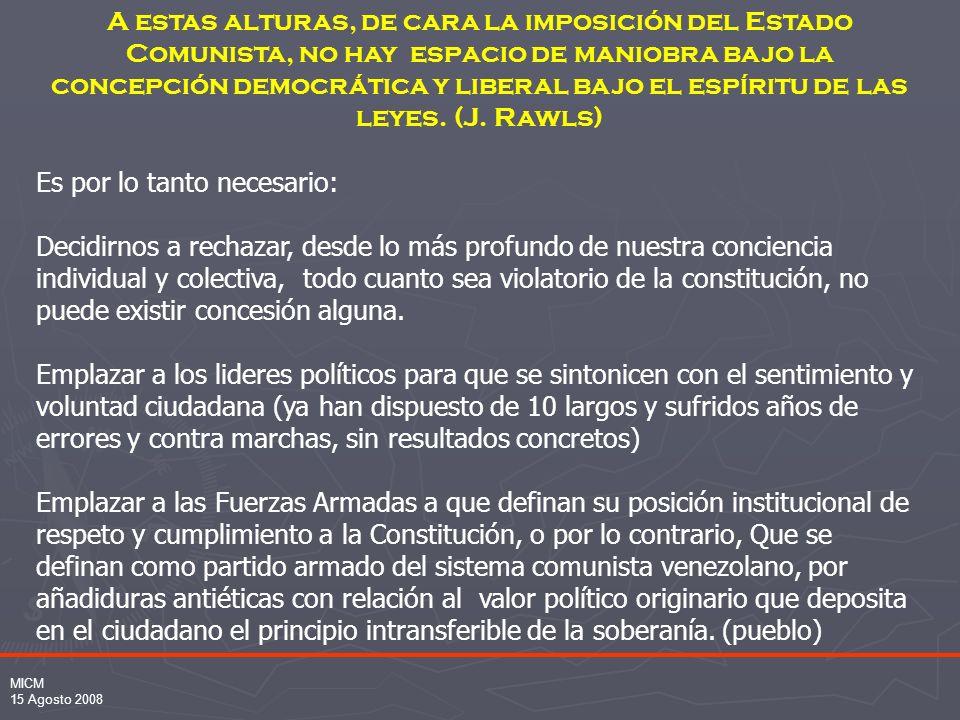 MICM 15 Agosto 2008 A estas alturas, de cara la imposición del Estado Comunista, no hay espacio de maniobra bajo la concepción democrática y liberal bajo el espíritu de las leyes.
