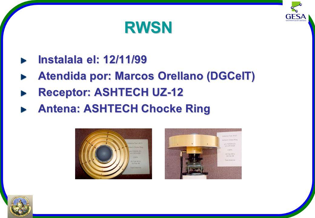 RWSN Instalala el: 12/11/99 Atendida por: Marcos Orellano (DGCeIT) Receptor: ASHTECH UZ-12 Antena: ASHTECH Chocke Ring