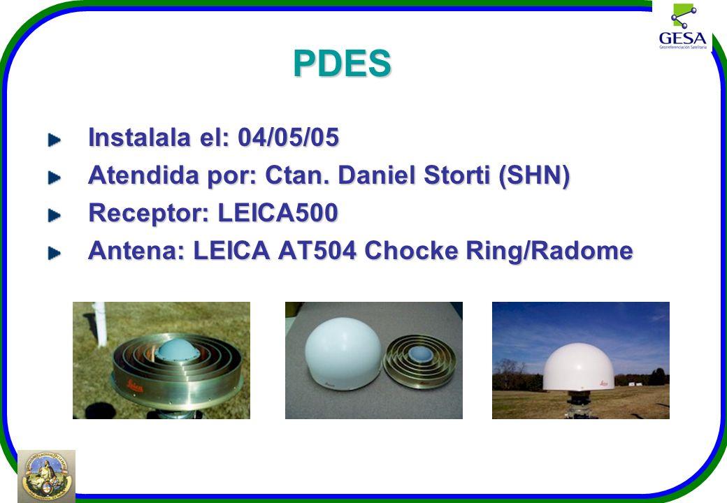 PDES Instalala el: 04/05/05 Atendida por: Ctan. Daniel Storti (SHN) Receptor: LEICA500 Antena: LEICA AT504 Chocke Ring/Radome