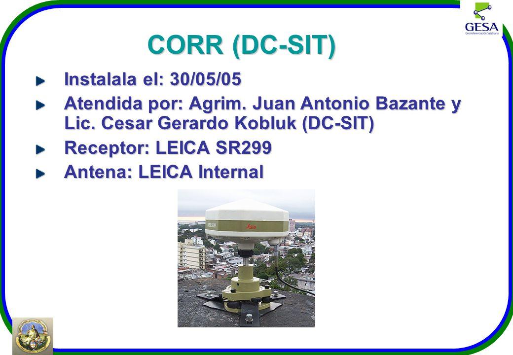 CORR (DC-SIT) Instalala el: 30/05/05 Atendida por: Agrim. Juan Antonio Bazante y Lic. Cesar Gerardo Kobluk (DC-SIT) Receptor: LEICA SR299 Antena: LEIC
