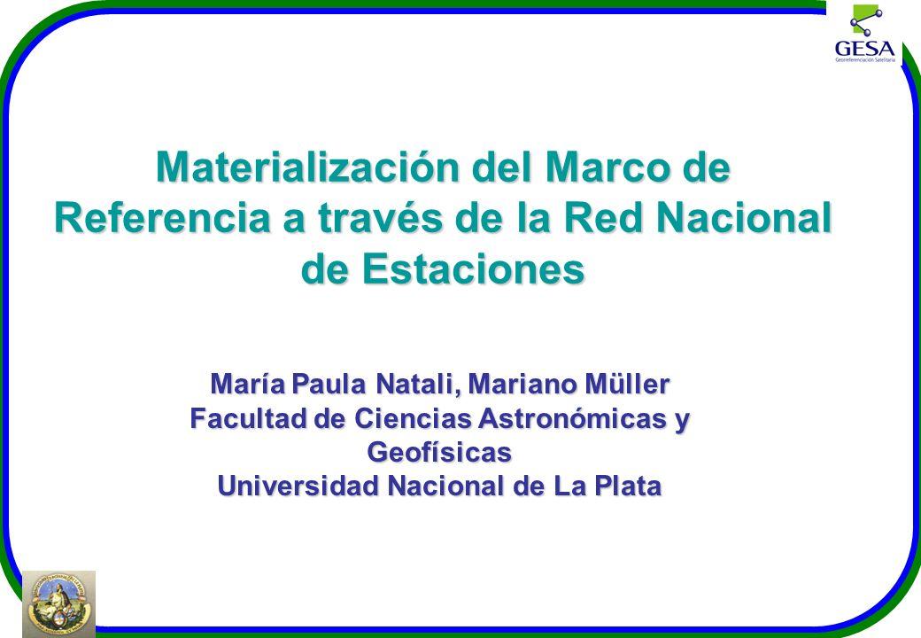 María Paula Natali, Mariano Müller Facultad de Ciencias Astronómicas y Geofísicas Universidad Nacional de La Plata Materialización del Marco de Refere