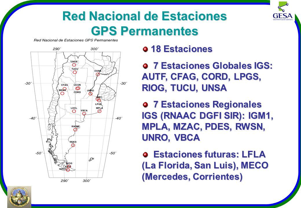 Red Nacional de Estaciones GPS Permanentes 18 Estaciones 18 Estaciones 7 Estaciones Globales IGS: AUTF, CFAG, CORD, LPGS, RIOG, TUCU, UNSA 7 Estacione