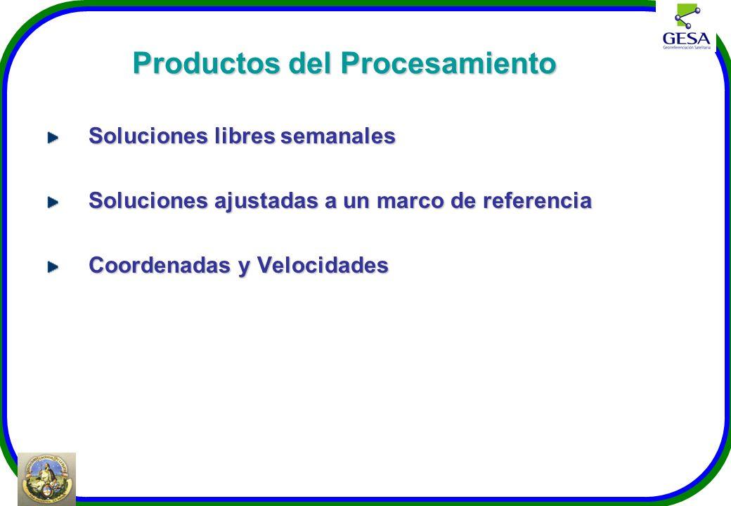 Productos del Procesamiento Soluciones libres semanales Soluciones ajustadas a un marco de referencia Coordenadas y Velocidades