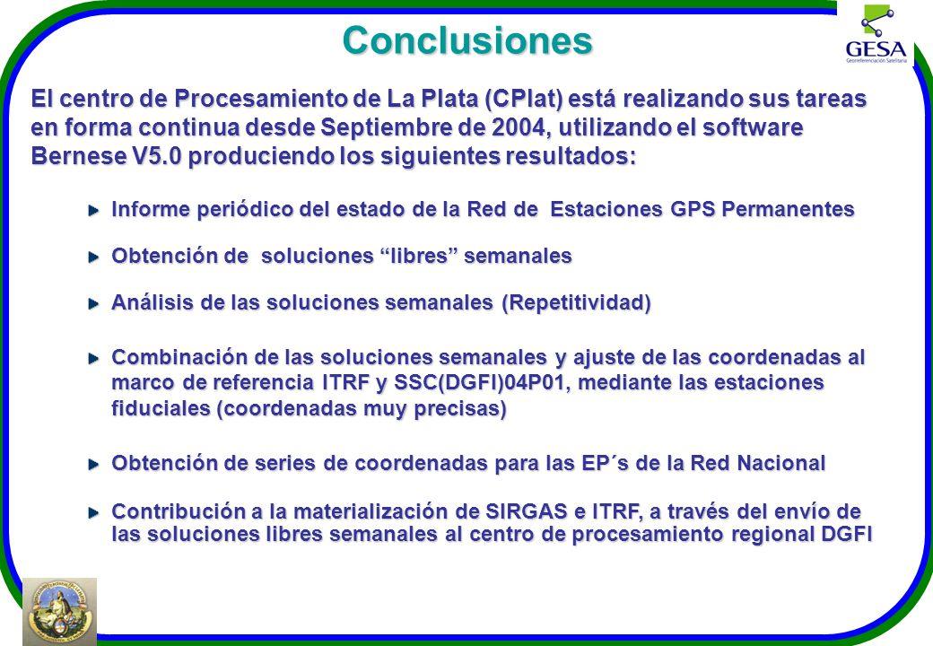 Conclusiones El centro de Procesamiento de La Plata (CPlat) está realizando sus tareas en forma continua desde Septiembre de 2004, utilizando el softw