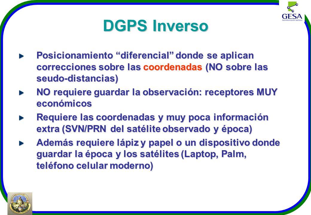 DGPS Inverso Posicionamiento diferencial donde se aplican correcciones sobre las coordenadas (NO sobre las seudo-distancias) NO requiere guardar la ob