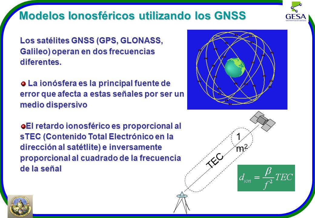 Modelos Ionosféricos utilizando los GNSS Modelos Ionosféricos utilizando los GNSS Los satélites GNSS (GPS, GLONASS, Galileo) operan en dos frecuencias