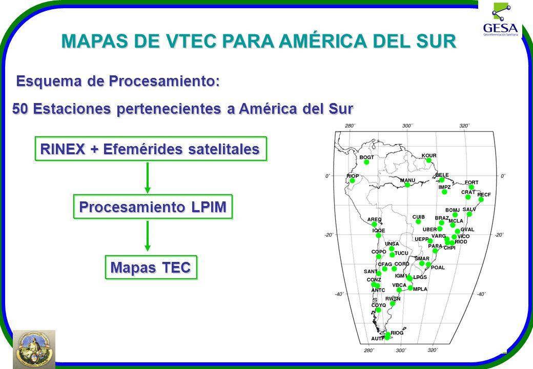 Esquema de Procesamiento: 50 Estaciones pertenecientes a América del Sur RINEX + Efemérides satelitales Procesamiento LPIM Mapas TEC MAPAS DE VTEC PAR