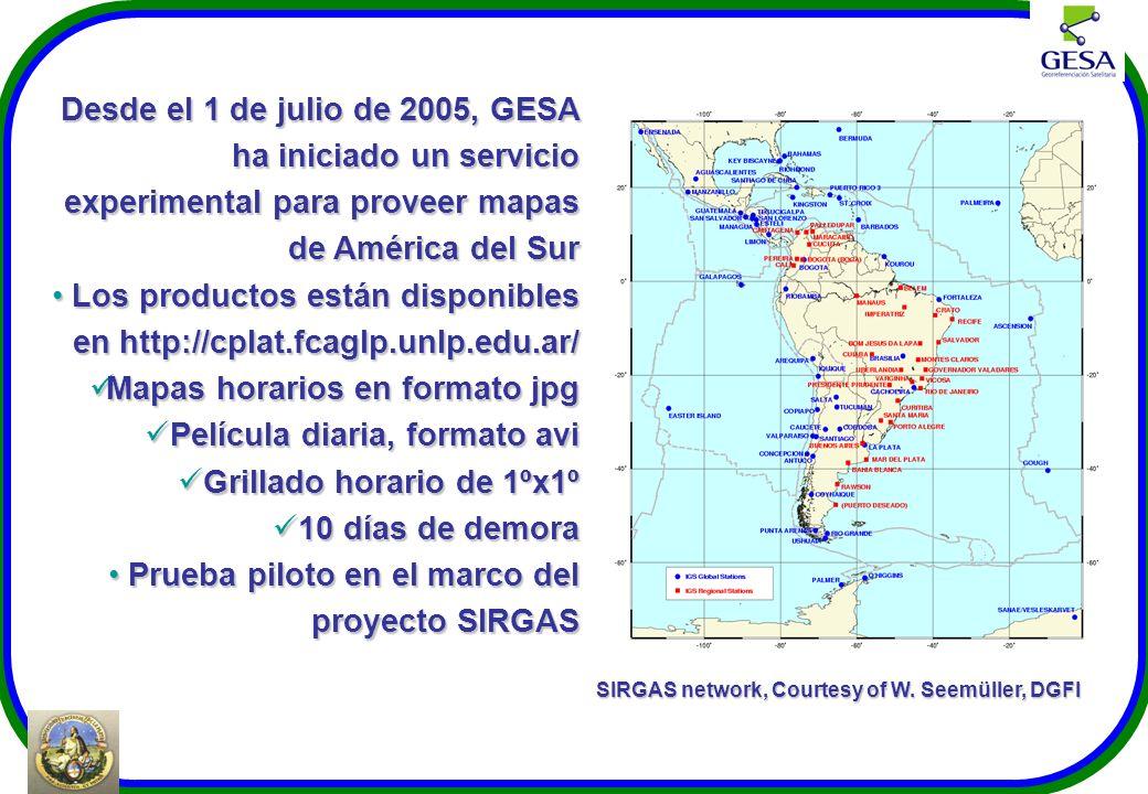 Desde el 1 de julio de 2005, GESA ha iniciado un servicio experimental para proveer mapas de América del Sur Los productos están disponibles en http:/