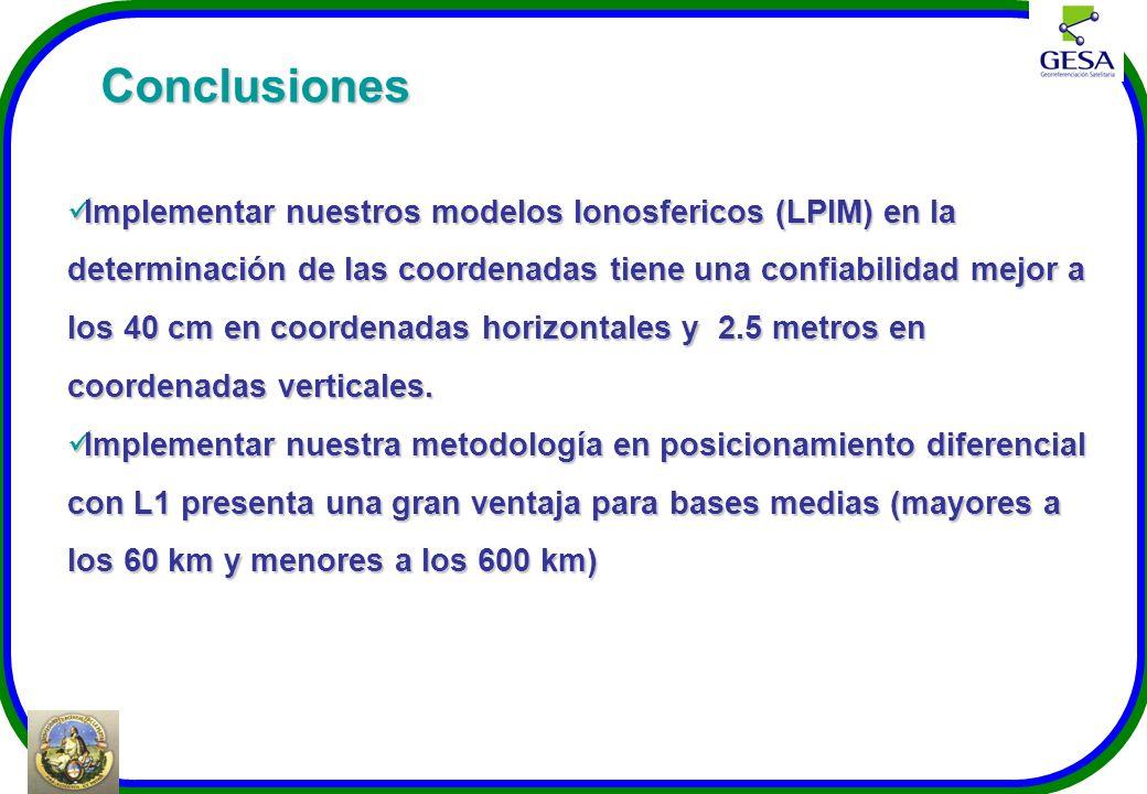 Conclusiones Implementar nuestros modelos Ionosfericos (LPIM) en la determinación de las coordenadas tiene una confiabilidad mejor a los 40 cm en coor