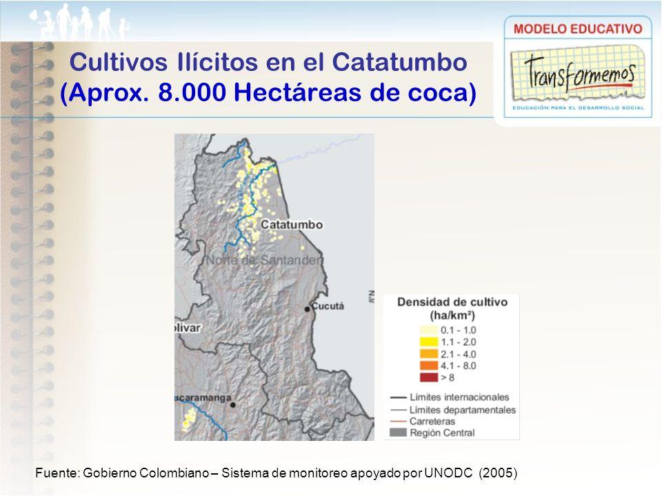 Cultivos Ilícitos en el Catatumbo (Aprox. 8.000 Hectáreas de coca) Fuente: Gobierno Colombiano – Sistema de monitoreo apoyado por UNODC (2005)