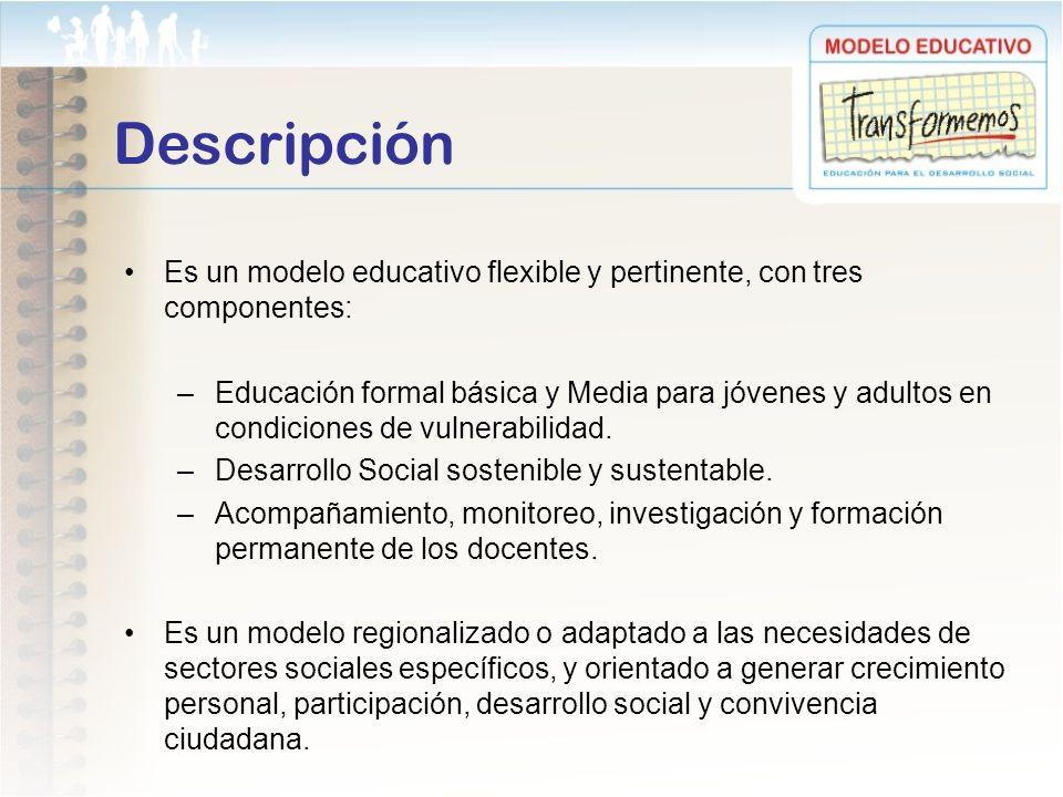 Es un modelo educativo flexible y pertinente, con tres componentes: –Educación formal básica y Media para jóvenes y adultos en condiciones de vulnerab