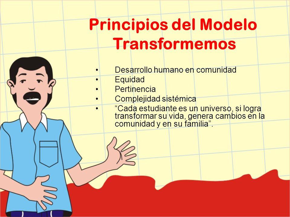 Principios del Modelo Transformemos Desarrollo humano en comunidad Equidad Pertinencia Complejidad sistémica Cada estudiante es un universo, si logra